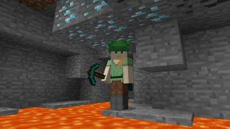 Diamonds are usually located near a lot of lava in Minecraft (Image via PCgamesN)