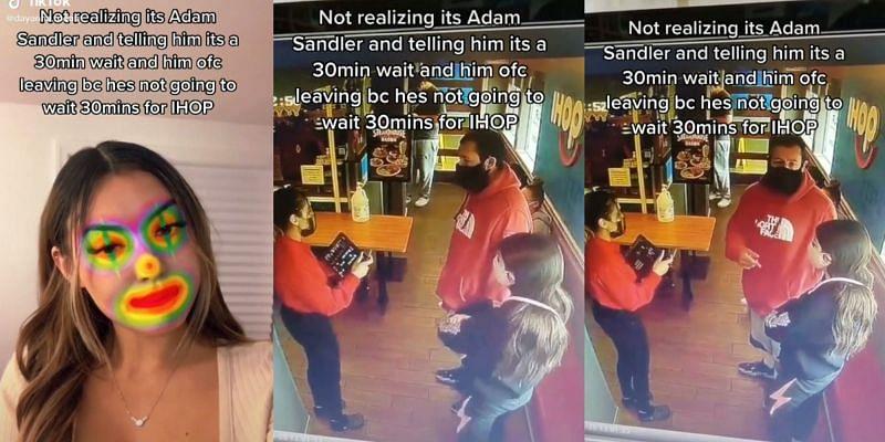 Tiktok user Dyanna Rodas interacting with Sandler at IHOP (Image via Tiktok)