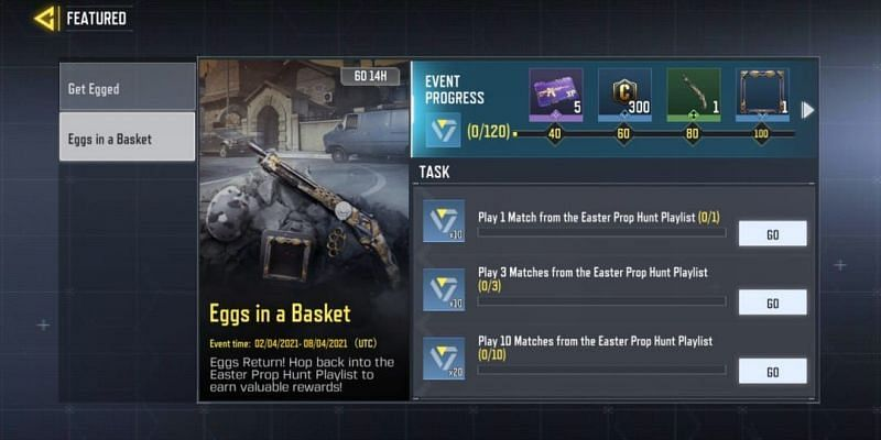 Players can have a look at the rewards in the Featured Events menu