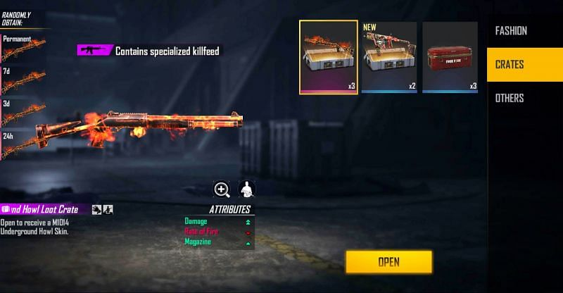 The 3x M1014 Underground Howl and 2x Vector Taunting Smile weapon loot crate