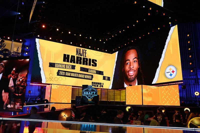 NFL Commissioner Roger Goodell announces Najee Harris as the 24th overall pick by the Pittsburgh Steelers during the 2021 NFL Draft on April 29, 2021, in Cleveland, Ohio