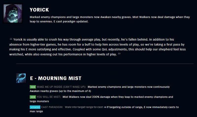 Yorick tweak information in 11.7 patch notes (Image via Riot Games - League of Legends)