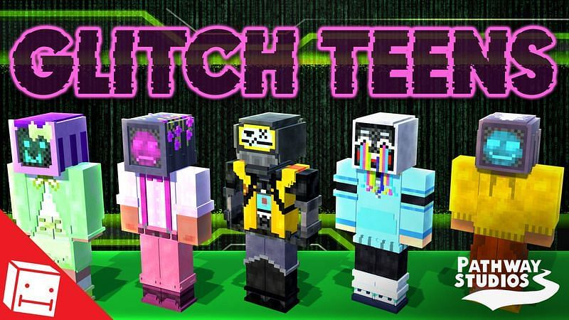 The Glitched Teens skin pack (Image via Play This Map)