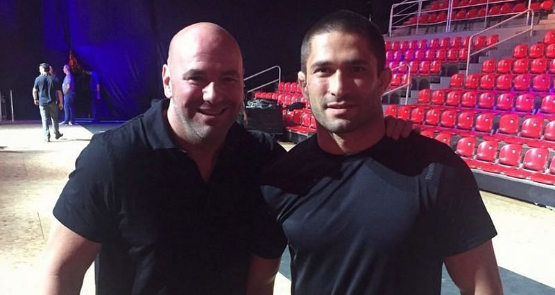 Khetag Pliev (Right) met UFC President Dana White during a UFC event in Sao Paulo, Brazil
