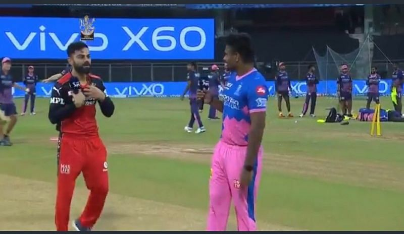 Virat Kohli realizing that he has won the toss against Sanju Samson