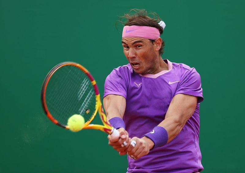 Rafael Nadal hits a backhand