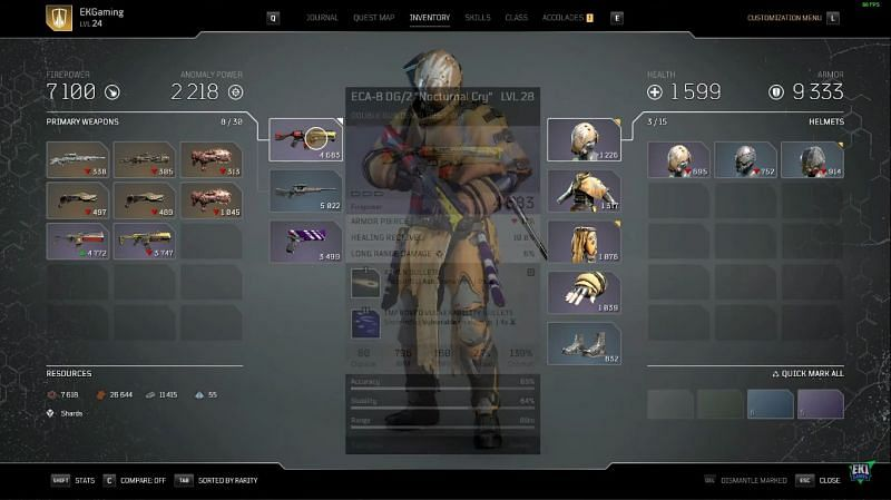 Material collection in Outriders (Image via EK1 Gaming)