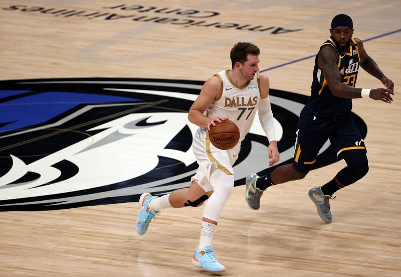 Luka Doncic in NBA action against the Utah Jazz