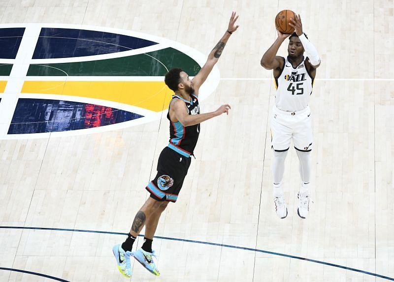 Donovan Mitchell #45 of the Utah Jazz.