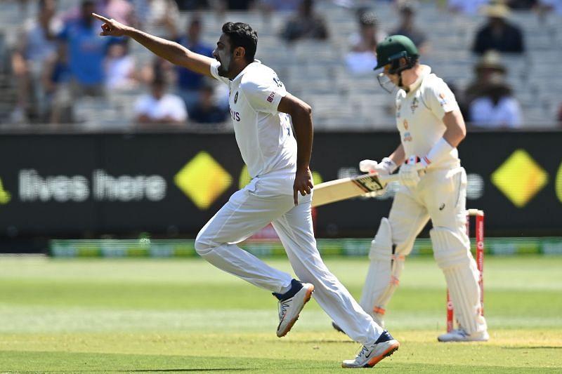 Ravichandran Ashwin celebrates after dismissing Steve Smith in the Test series.