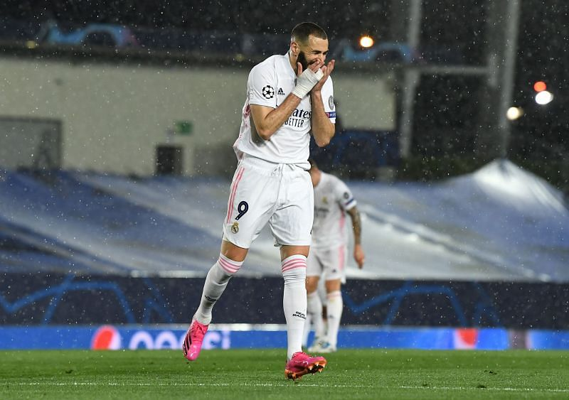 Benzema celebrating his goal against Chelsea