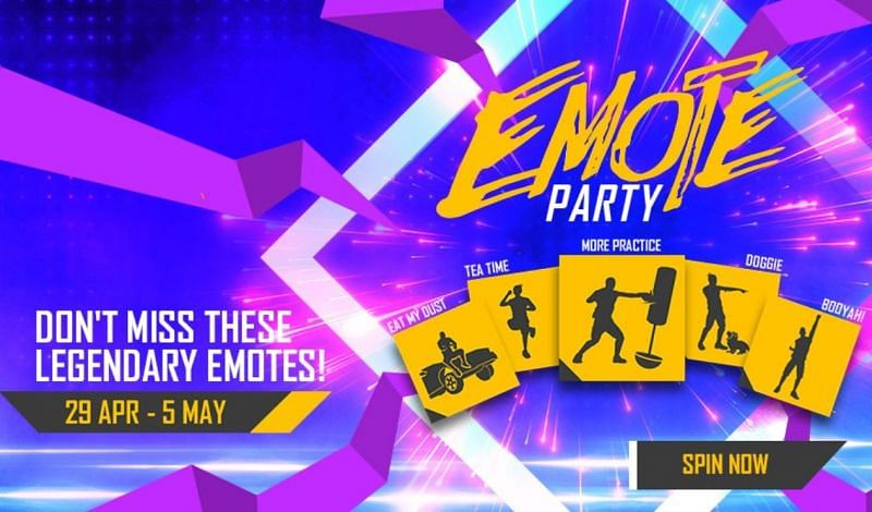 The Emote Party event in Free Fire will run from April 29 to May 5 (Image via Free Fire)