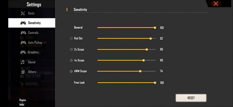 Best sensitivity for lesser recoil and faster movement in Free Fire