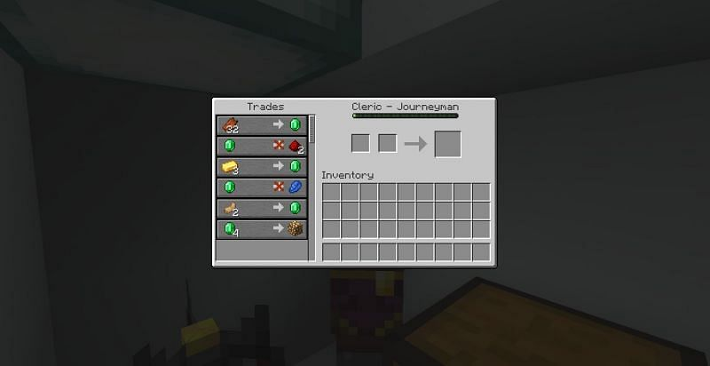 A journeyman-level cleric trades one glowstone for four emeralds (Image via Minecraft)