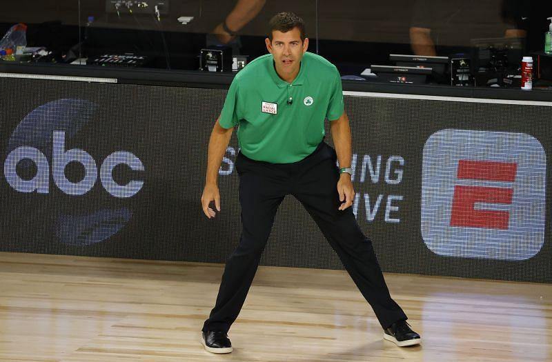 Boston Celtics head coach Brad Stevens on the touchline.
