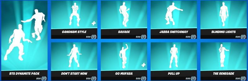 Players can get their hands on these emotes for 500 V-Bucks each (Image via Epic Games)