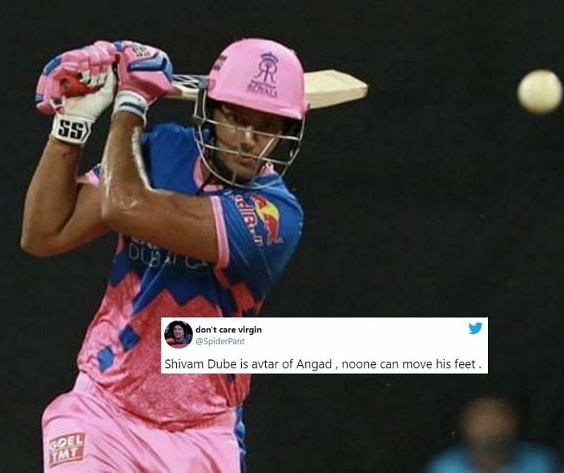 Shivam Dube took 31 balls to score 35 runs against MI