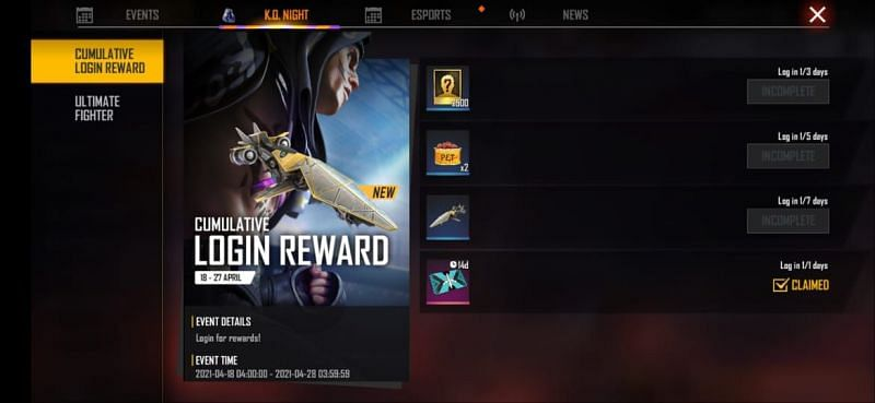 Cumulative Login reward event