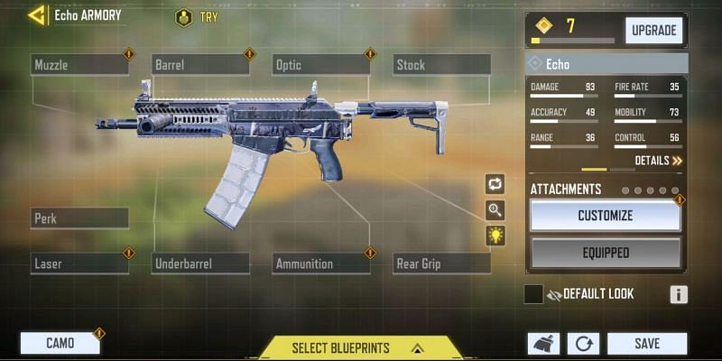 Gunsmith for Loadout of Echo in COD Mobile (Image via Activision)