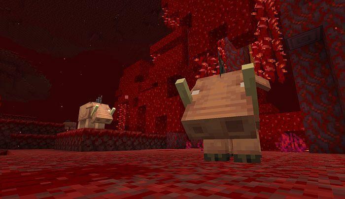 Hoglins in crimson forest (Image via Minecraft)