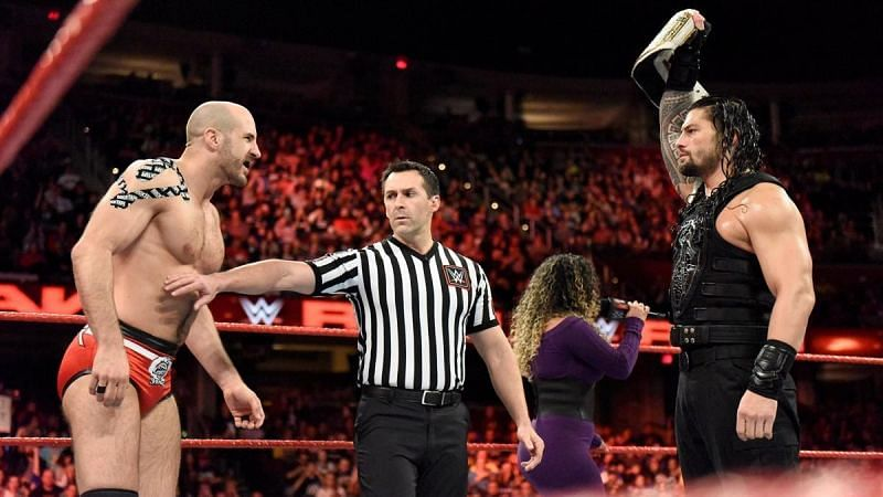 Roman Reigns retained the WWE Intercontinental Championship against Cesaro in 2017.