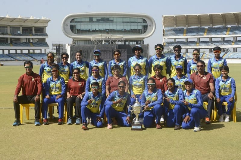 Railways pose with the trophy. Pic: BCCI