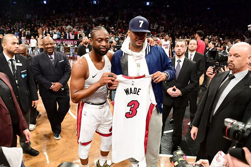Dwyane Wade gives his final jersey to friend Carmelo Anthony.