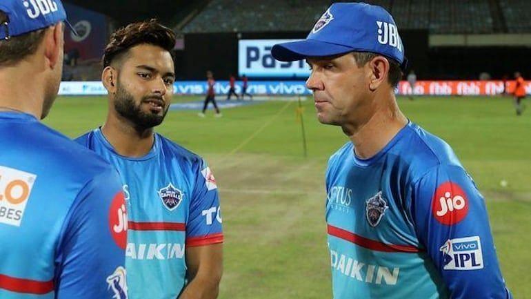 Rishabh Pant with DC coach Ricky Ponting (Image courtesy BCCI)
