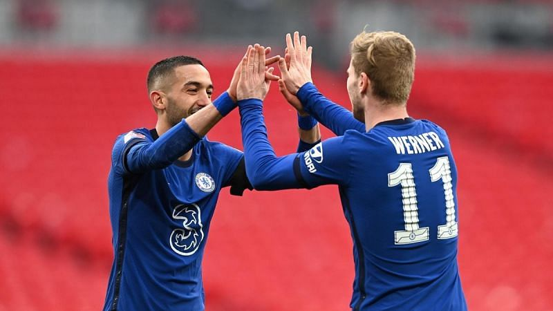 Hakim Ziyech and Timo Werner celebrate Chelsea