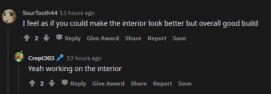 Shown: More criticism on the interior (Image via Reddit)