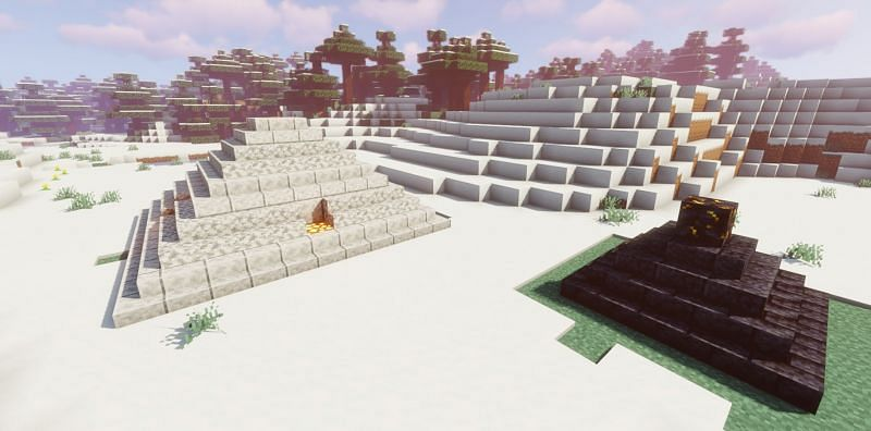 Shown: A Blackstone pyramid compared to a Diorite pyramid (Image via Minecraft)