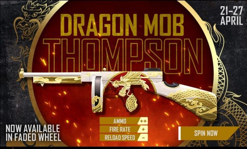 The Dragon Mob Thompson skin is available in the Faded Wheel section of Free Fire.