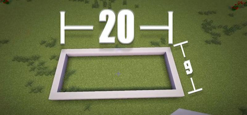 Players must first build a quartz rectangle foundation (Image via YT, Greg Builds)