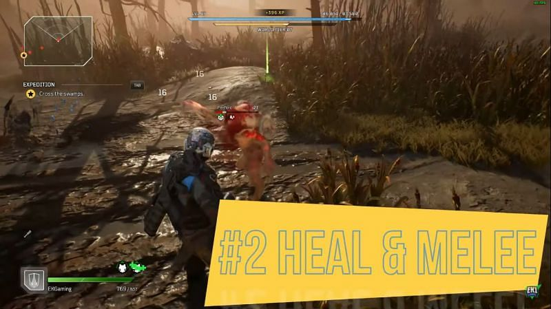 Healing and Melee attack combination in Outriders (Image via EK1 Gaming)