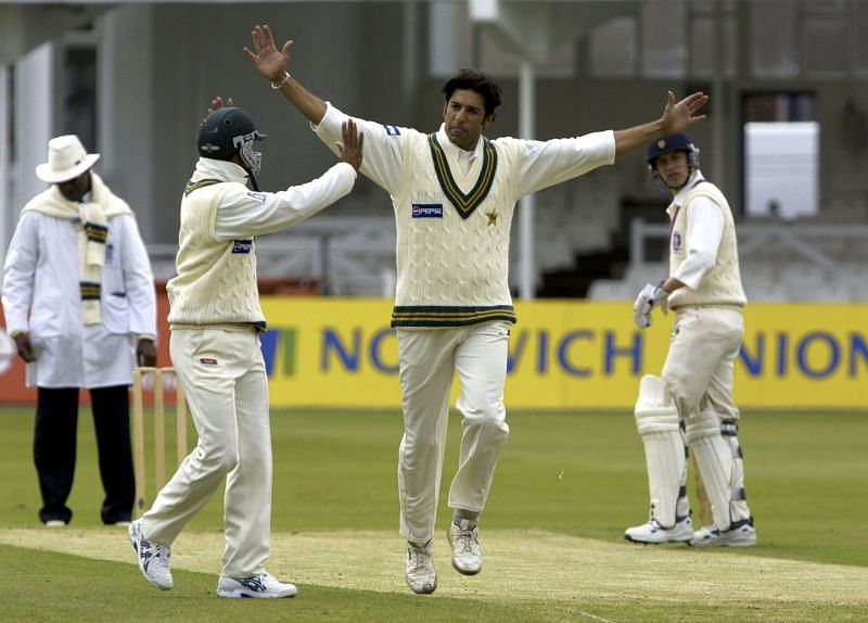 Wasim Akram, here seen in a game against British Universities, was the hero for Pakistan with the ball