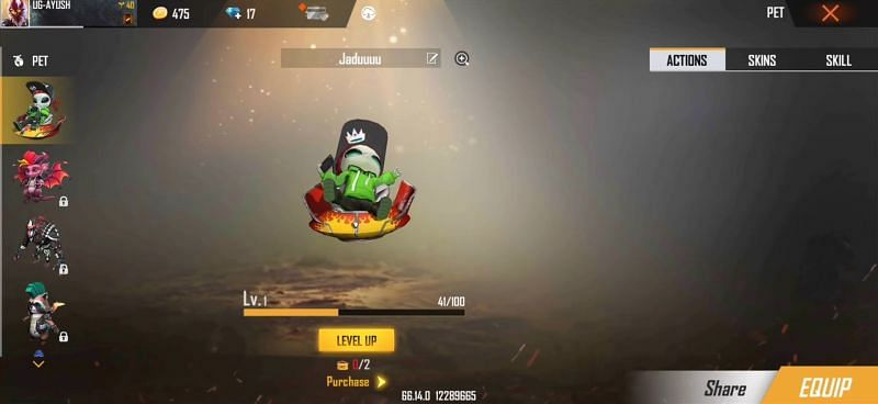 Moony pet in Free Fire (Image via Ungraduate Gamer)