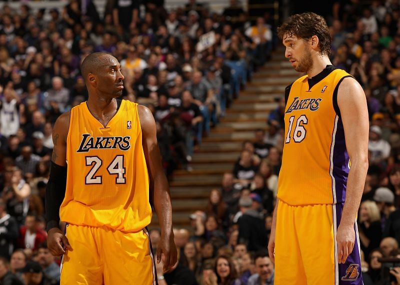 Kobe Bryant and Pau Gasol of the LA Lakers.