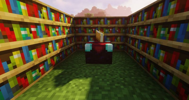 Shown: The best setup for an Enchantment Table (Image via Minecraft)