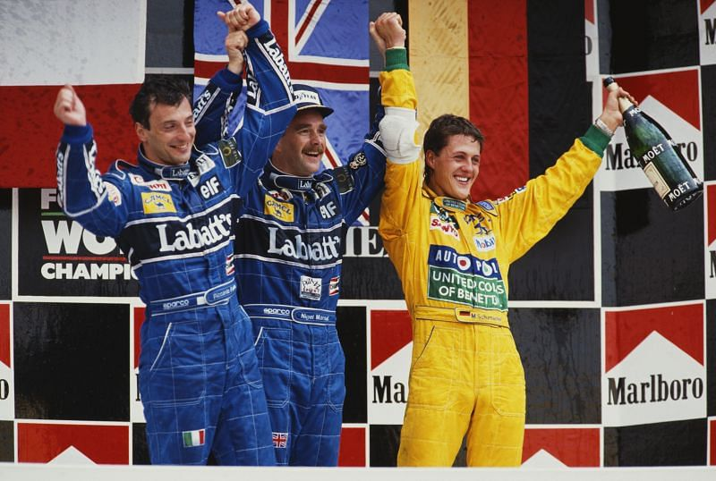 Nigel Mansell (centre) winning the 1992 Mexican Grand Prix. Photo: Pascal Rondeau/Getty Images.