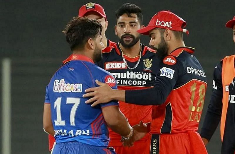 Rishabh Pant and Virat Kohli shaking hands at the end of the game