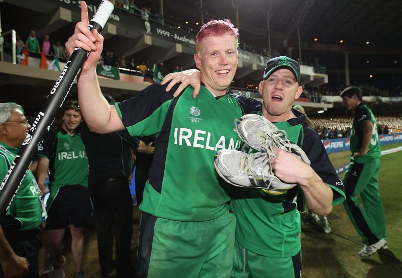 Kevin O'Brien with Niall O'Brien after Ireland