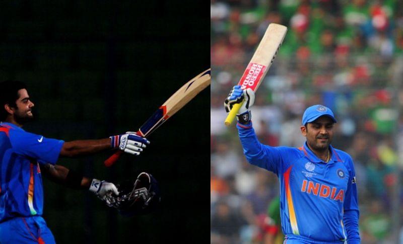 वीरेंदर सहवाग (175)और विराट कोहली (100*) ने बांग्लादेश के खिलाफ जड़े थे शतक