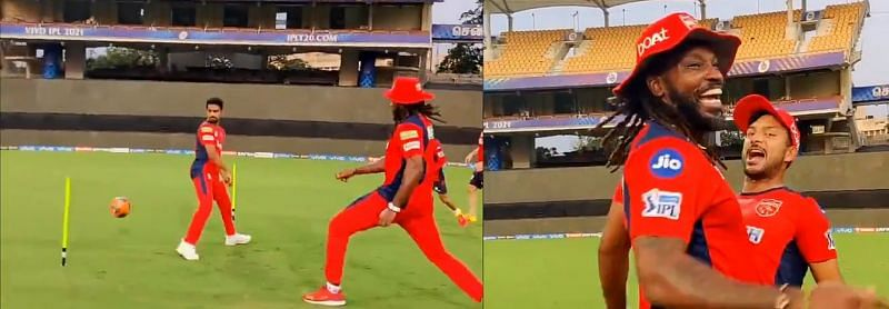 Chris Gayle scoring a goal in a training session. Pic Credits: @PunjabKingsIPL Twitter