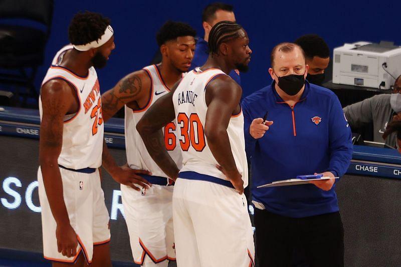Head Coach Tom Thibodeau of the New York Knicks speaks with Julius Randle #30