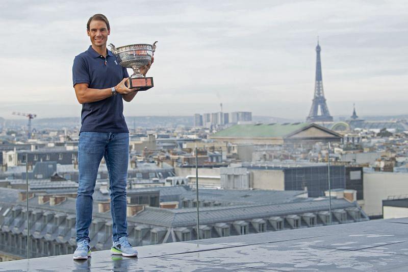 Rafael Nadal with the 2021 Roland Garros trophy