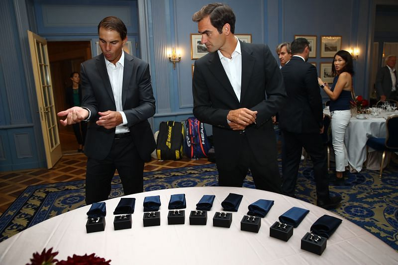 Roger Federer and Rafael Nadal at the Laver Cup 2019