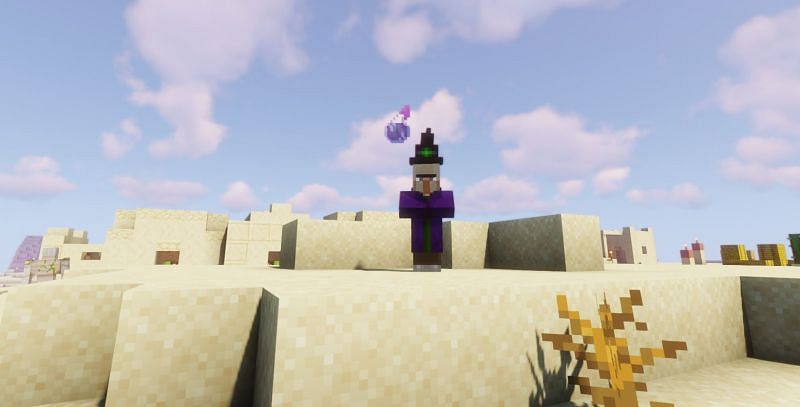 Shown: A Witch tossing a Potion of Poison at the player (Image via Minecraft)