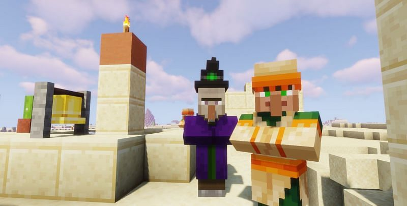 Iron golems can attack witches in Minecraft (Image via Minecraft)