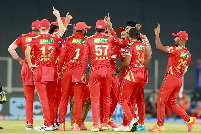 PBKS players celebrate a wicket. Pic: IPLT20.COM
