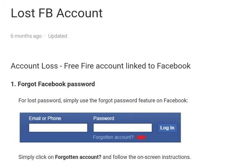 Players can tap on the Forgotten password option